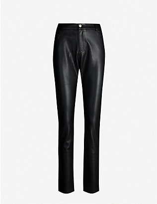 CLAUDIE PIERLOT: Paname high-rise tapered faux-leather jeans