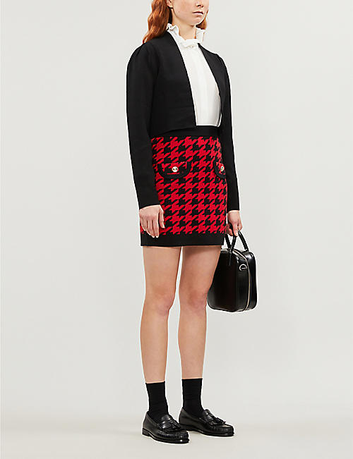 CLAUDIE PIERLOT Mamaille houndstooth cotton-blend mini skirt