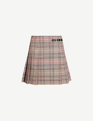 CLAUDIE PIERLOT Sirene checked pleated woven mini skirt