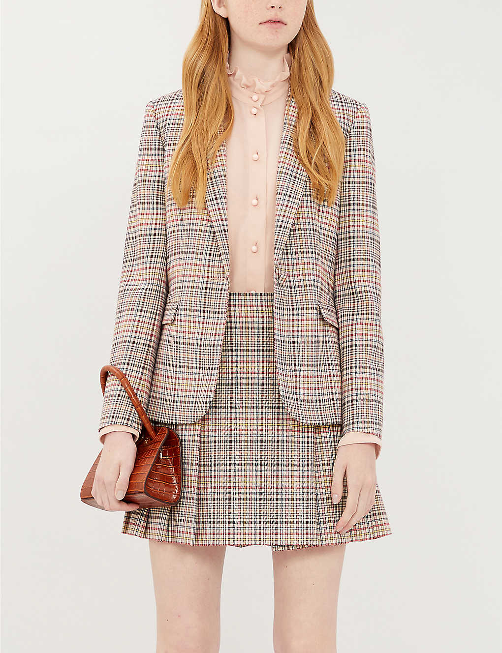 CLAUDIE PIERLOT: Sirene checked pleated woven mini skirt