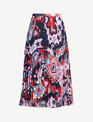 CLAUDIE PIERLOT Sezameh graphic-pattern crepe midi skirt