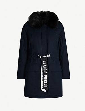 CLAUDIE PIERLOT Ginevrah branded-belt cotton-blend coat