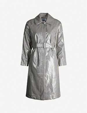 CLAUDIE PIERLOT Belted houndstooth woven coat