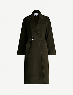 CLAUDIE PIERLOT Wrap-over notch-lapel wool coat