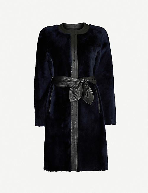 CLAUDIE PIERLOT Fleur collarless shearling and leather coat