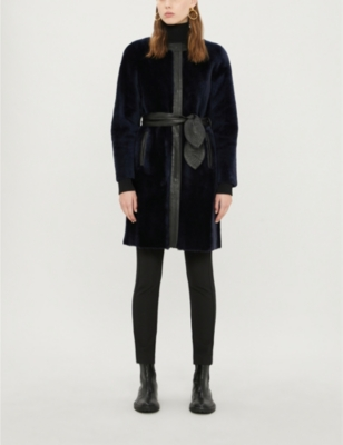 Fleur Collarless Shearling And Leather Coat by Claudie Pierlot