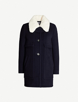 CLAUDIE PIERLOT Contrast-collar wool-blend coat