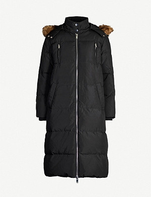 CLAUDIE PIERLOT Faux fur-trim hooded shell-down parka coat