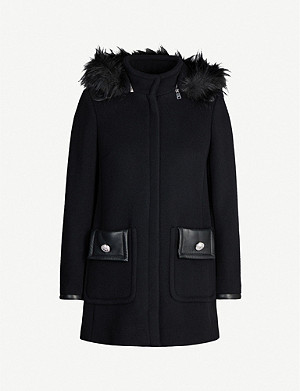CLAUDIE PIERLOT Detachable-hood faux fur-trim wool-blend jacket