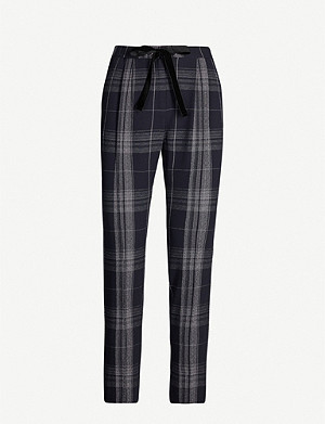 CLAUDIE PIERLOT Piah tartan tapered high-rise stretch-crepe trousers