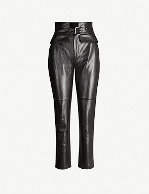 CLAUDIE PIERLOT Cardamone croc-embossed leather trousers