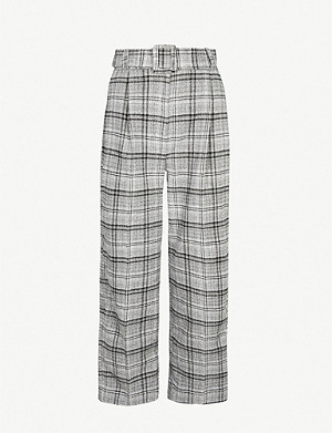CLAUDIE PIERLOT Peitoh checked mid-rise tapered woven trousers