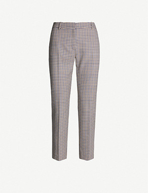 CLAUDIE PIERLOT Mid-rise checked woven tapered trousers