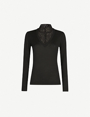 CLAUDIE PIERLOT MacaoH19 lace and wool jumper