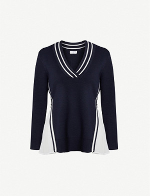 CLAUDIE PIERLOT V-neck stripe-trimmed stretch-knit jumper