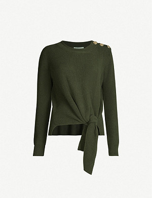 CLAUDIE PIERLOT Matt tie-detail knitted jumper