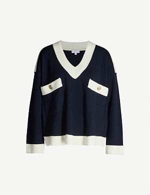 CLAUDIE PIERLOT 5005-10150-CFPPU00212Mascy buttoned V-neck wool-blend jumper