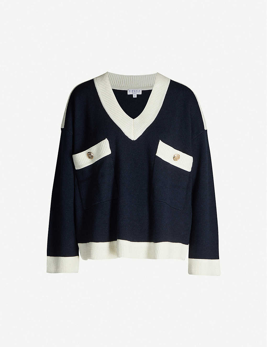 CLAUDIE PIERLOT: Mascy buttoned V-neck wool-blend jumper