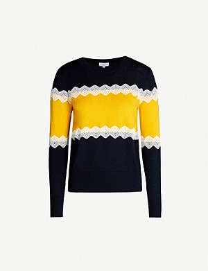 CLAUDIE PIERLOT Magniah contrast panels wool-blend jumper