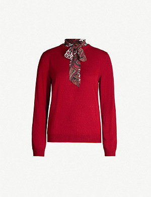 CLAUDIE PIERLOT Merina scarf-embellished wool-blend jumper
