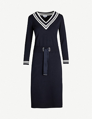 CLAUDIE PIERLOT Tie-belt knitted midi dress