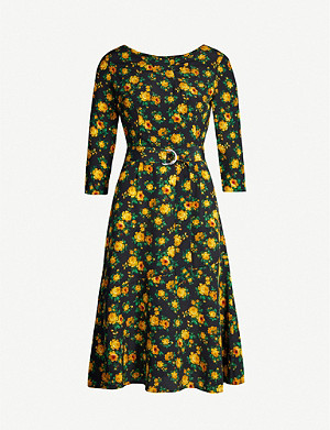 CLAUDIE PIERLOT Rismah floral belted silk-crepe dress