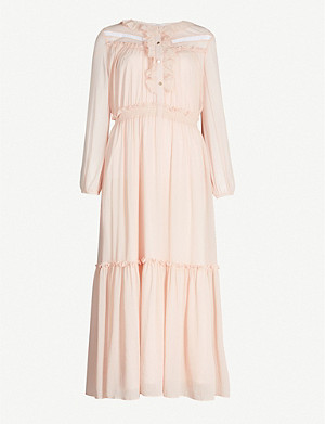 CLAUDIE PIERLOT Contrast neck-tie pleated crepe dress