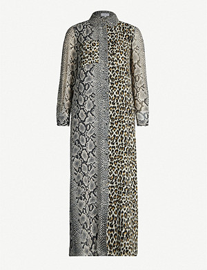 CLAUDIE PIERLOT Rigole mixed-print crepe midi dress