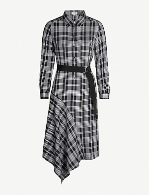 CLAUDIE PIERLOT Asymmetric-hem checked crepe dress