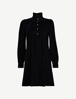 CLAUDIE PIERLOT Frill-trim velvet mini dress