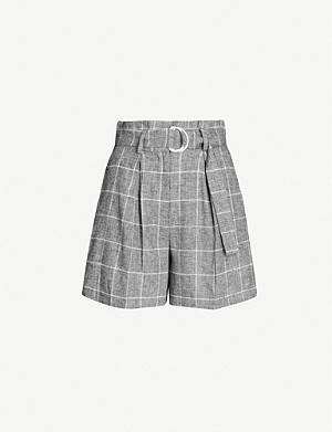 CLAUDIE PIERLOT Checked paper bag-waist linen and cotton-blend shorts