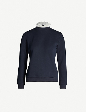 CLAUDIE PIERLOT Ruffled-trim cotton-blend sweatshirt