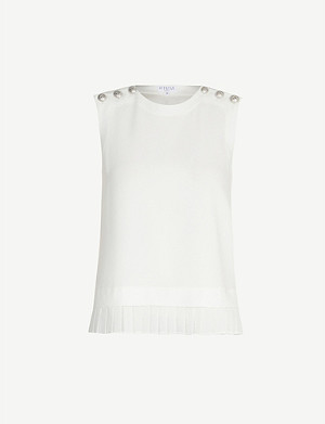 CLAUDIE PIERLOT Buttoned-shoulder crepe top