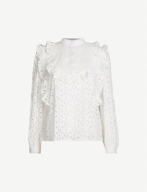 CLAUDIE PIERLOT Biche ruffle-trimmed broderie-anglaise shirt