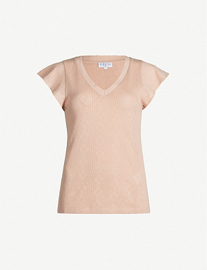 CLAUDIE PIERLOT Tresseh V-neck cotton-jersey T-shirt