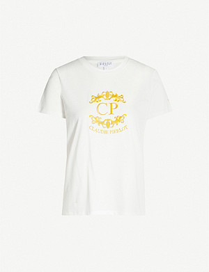 CLAUDIE PIERLOT Logo-embroidered cotton-jersey T-shirt