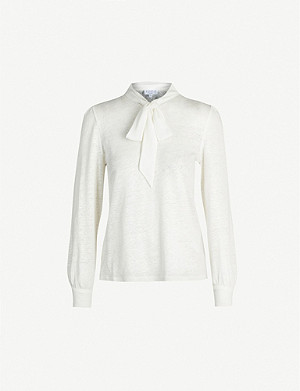 CLAUDIE PIERLOT Tie-collar linen blouse
