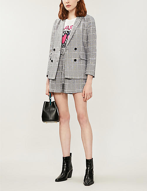 CLAUDIE PIERLOT Checked double-breasted linen and cotton-blend blazer