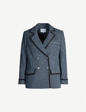 CLAUDIE PIERLOT Contrast-trim houndstooth wool-blend blazer