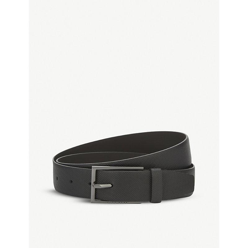 HUGO BOSS | Hugo Boss Carmello-S Textured Leather Belt, Mens, Size: 32, Black | Goxip