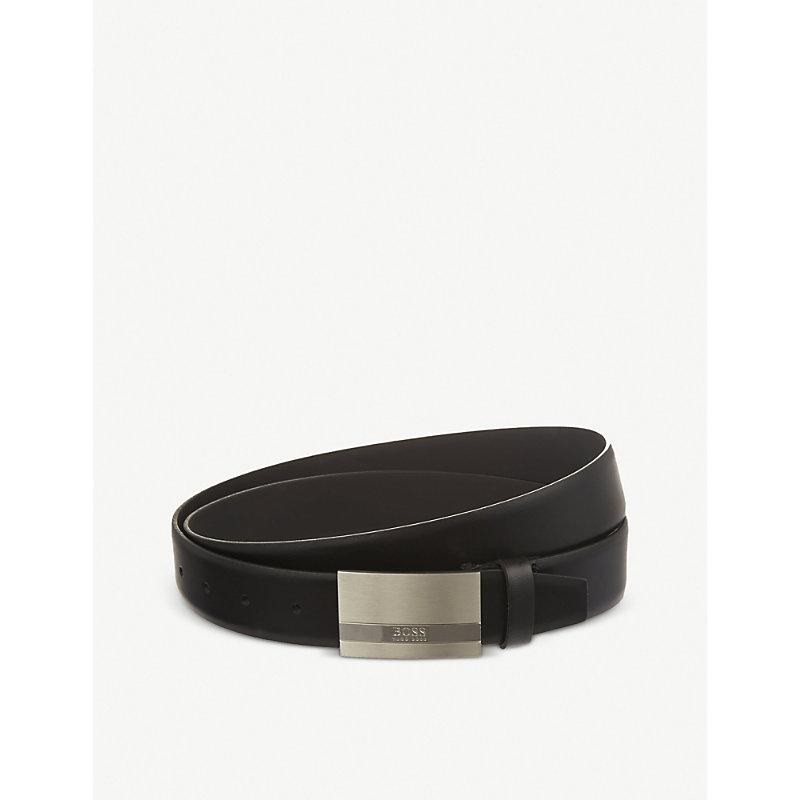 HUGO BOSS | Hugo Boss Cow Skin Buckled Belt, Mens, Size: 34, Black | Goxip