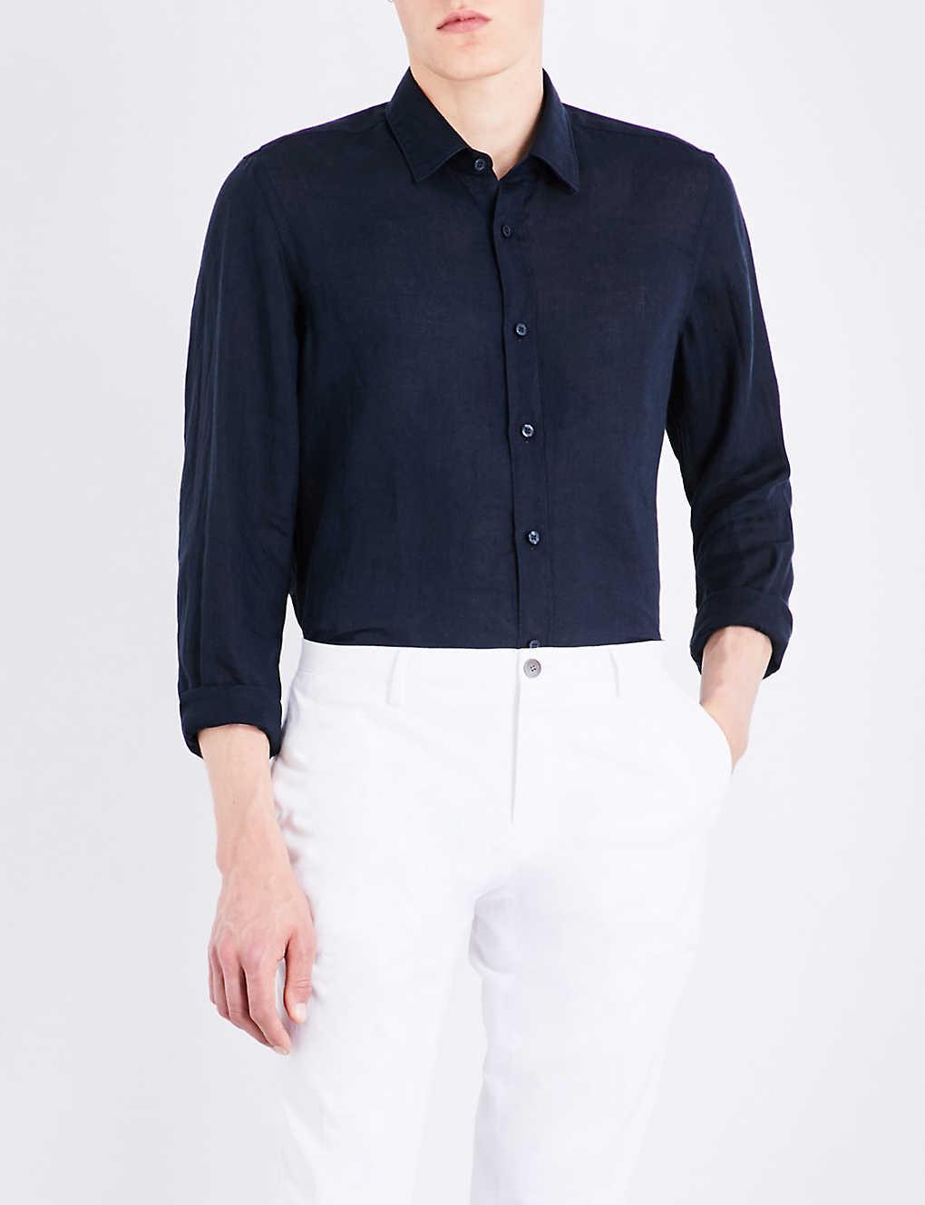 033547448 BOSS - Regular-fit linen shirt | Selfridges.com