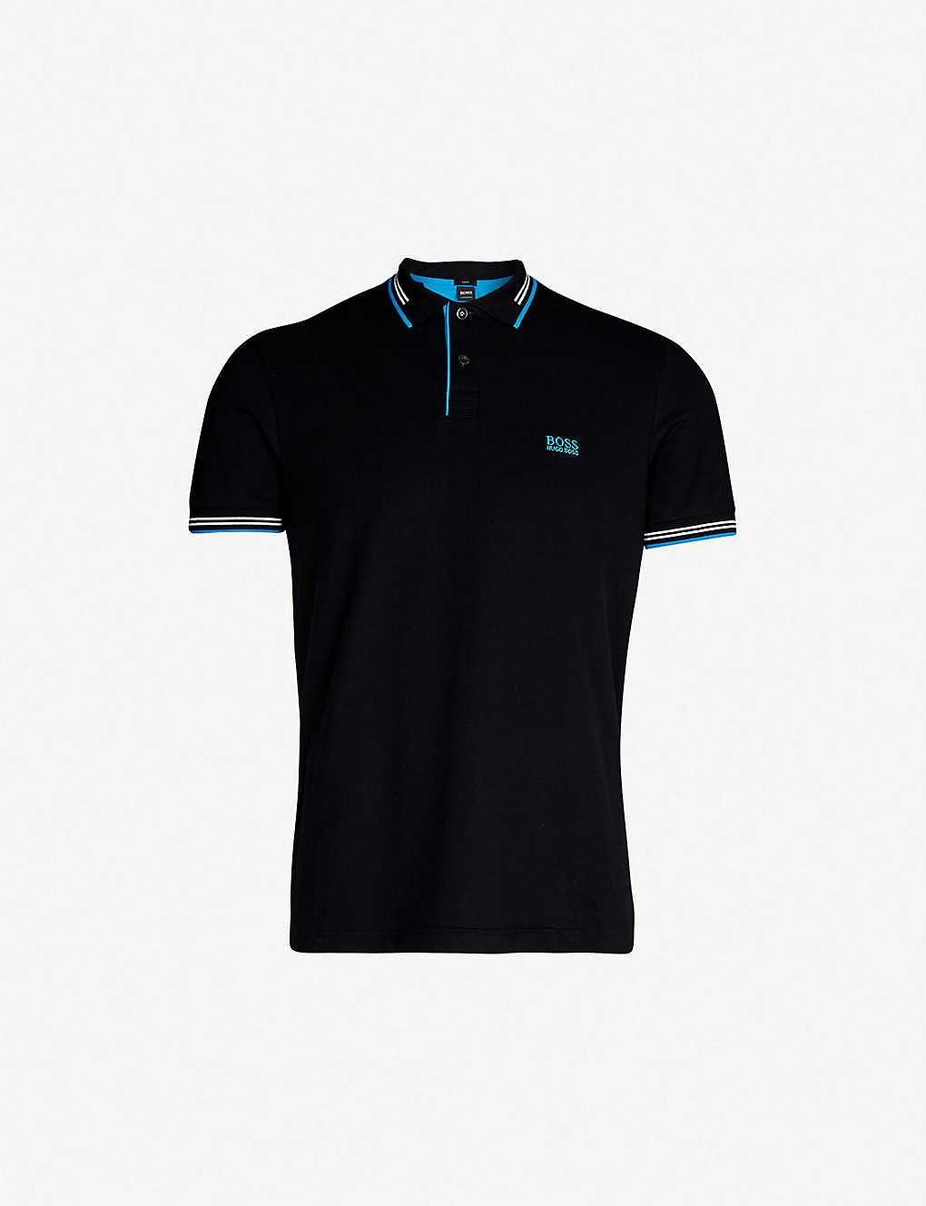 cdfa9d4c BOSS - Tipped cotton-piqué polo shirt | Selfridges.com