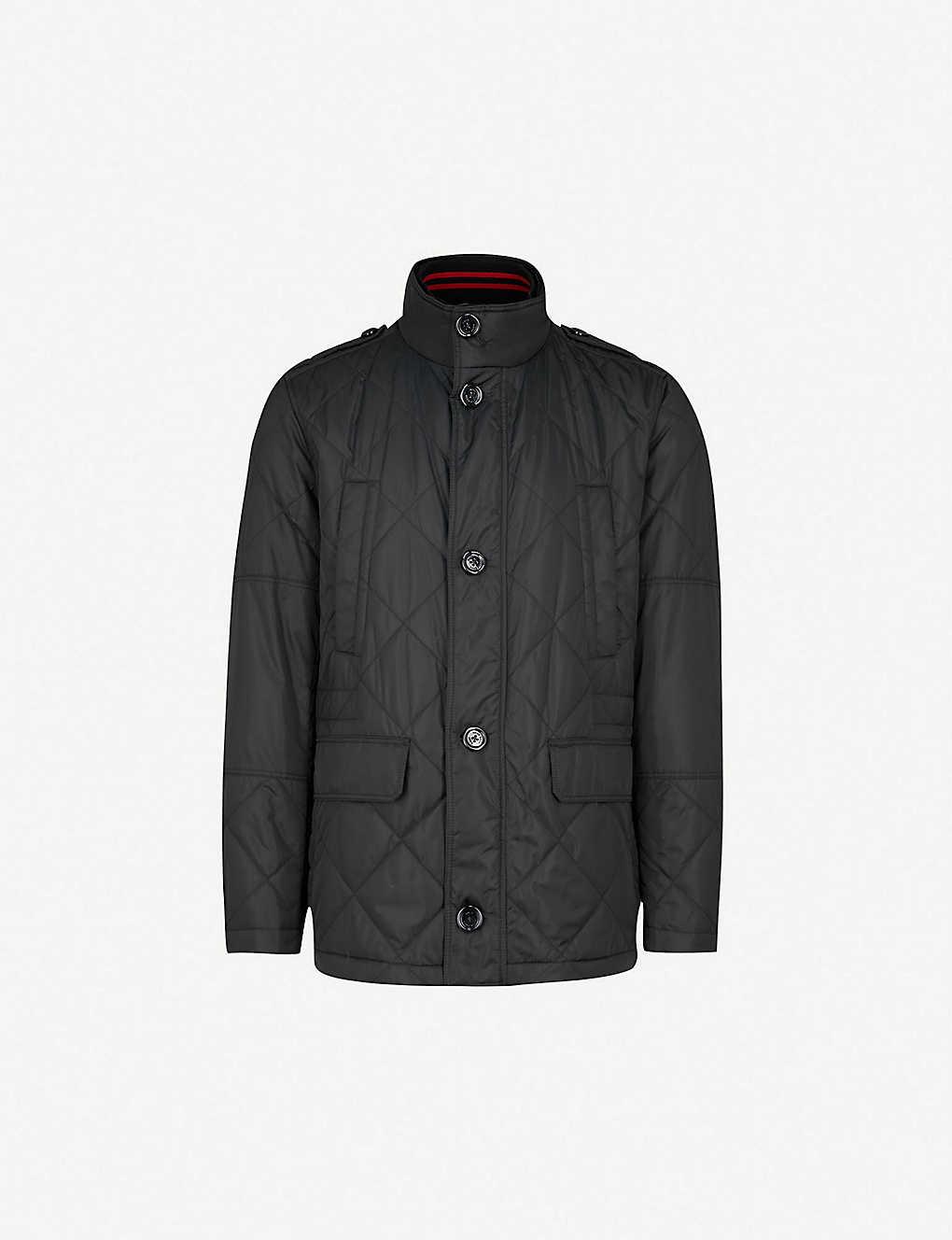 8e1e933d1c BOSS - Funnel-collar quilted cotton-blend coat | Selfridges.com