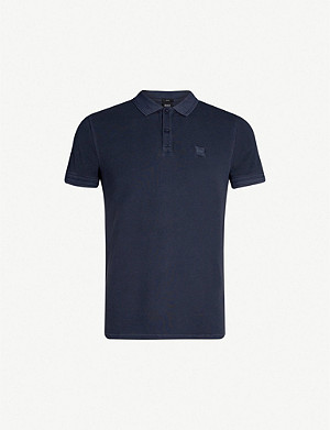 BOSS Logo-embroidered cotton-piqué polo shirt