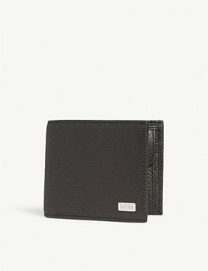 BOSS Metal logo leather billfold wallet