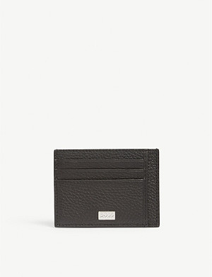 BOSS Logo plaque leather card holder