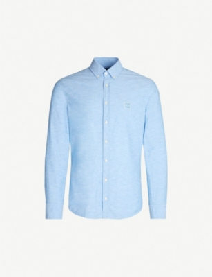 BOSS Logo patch-embroidered cotton shirt
