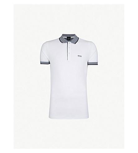 85f92b315e BOSS - Slim-fit striped-trim cotton-piqué polo shirt   Selfridges.com