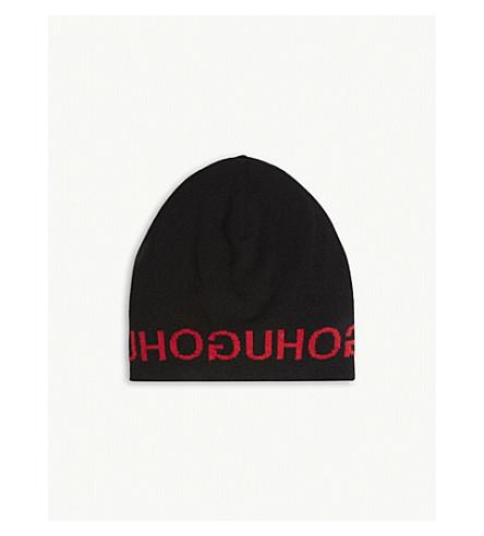 6d318e35e6f HUGO - Logo wool and cashmere-blend beanie